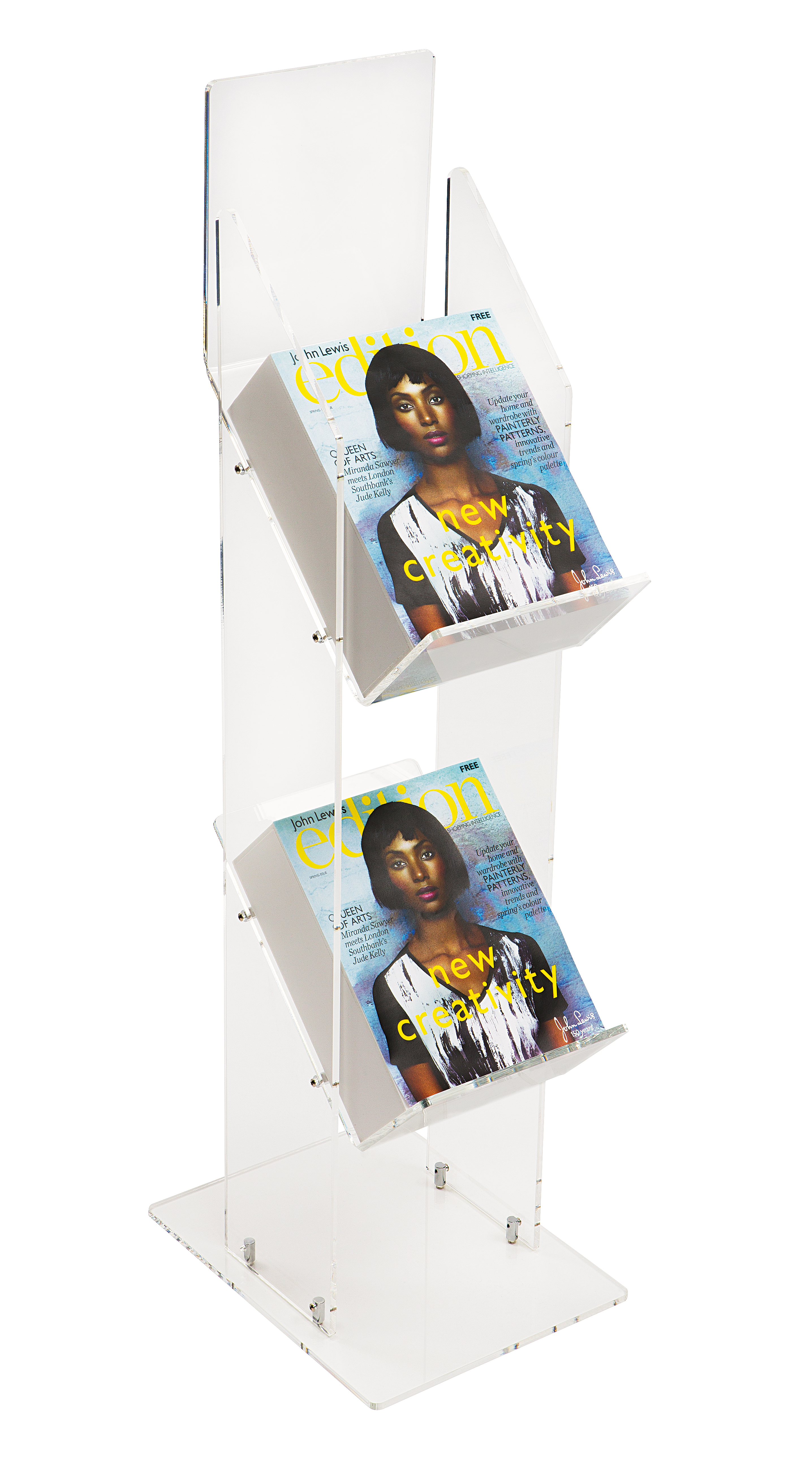 Two Tier Magazine Stand In Clear Or Black Acrylic