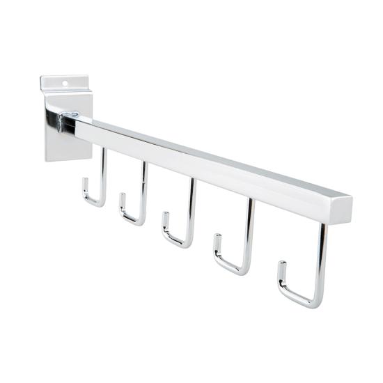 Straight Five Hook Arm Rail slots easily into slatwall panels