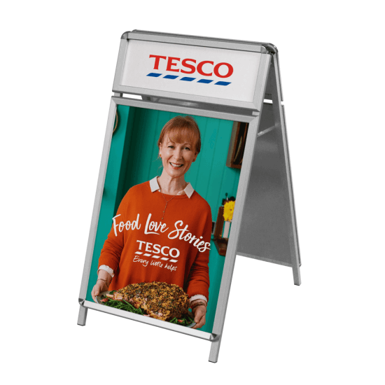 A Board with Header, available with bespoke printed posters