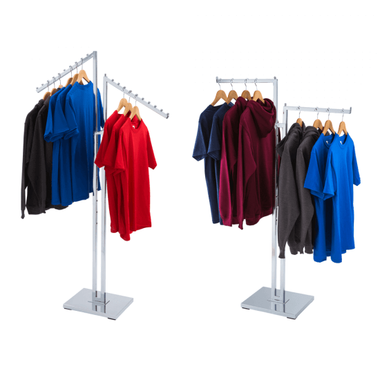 Two arm clothes rail display stand with straight or sloping arms