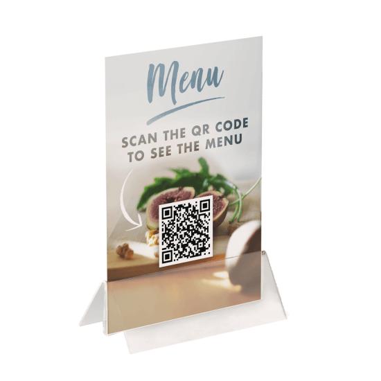 Acrylic Menu Card Holder Base with QR code menu insert