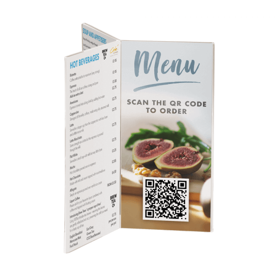Menu Holder with Six Faces with QR code insert