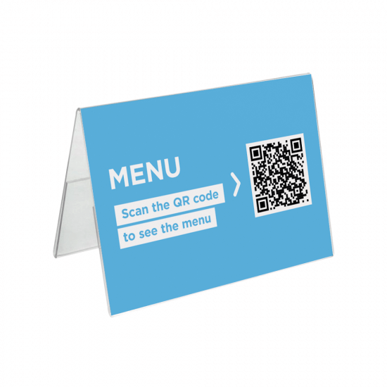 Tent Card Holder with QR code insert