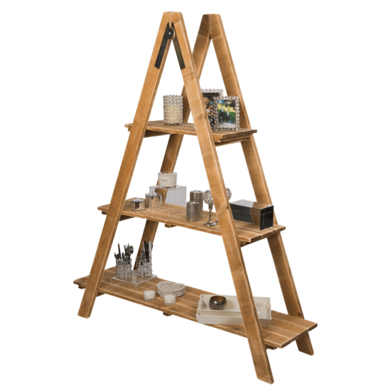 Wood Ladder Display Shelves with a natural pine finish
