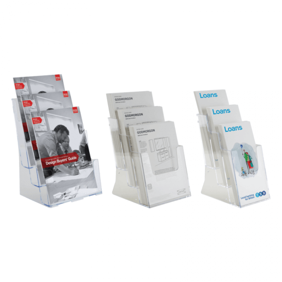 Three tier leaflet holder, available in a variety of paper sizes