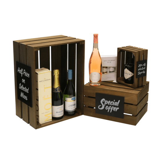 Wooden Display Crate with optional added chalkboards