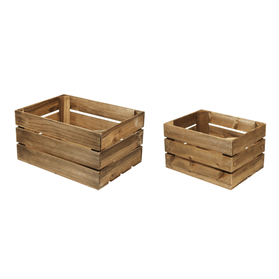 Wooden Display Crates with a dark oak finish and a choice of 2 sizes