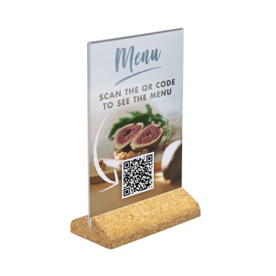 Cork Base Sign Holder with QR code menu insert