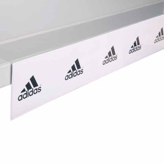 PVC Shelf Strip With Right Angle Adhesive Return With Strip
