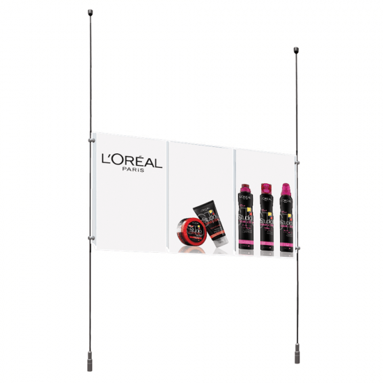 Triple A4 Acrylic Poster Holder for rod and cable displays