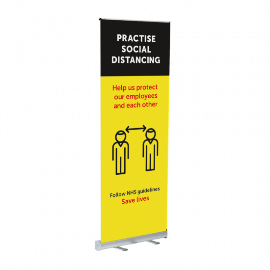 Economy Roller Banner with Practise Social Distancing banner