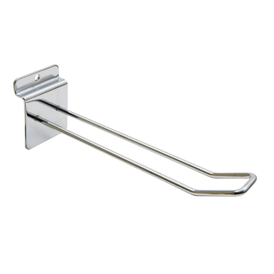 Double prong slatwall hook for merchandising displays - 4.8mm wire