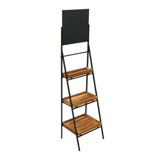 Folding Ladder Shelf Stand With Chalkboard Header