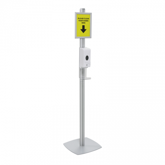 Automatic Freestanding Hand Sanitiser Dispenser with A4 poster