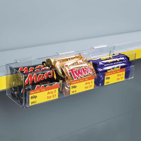 Clear Merchandising Tray for shelf edges, supplied with one data strip