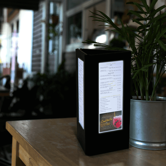 Three Sided LED Backlit Menu Holder is ideal for restaurant tables