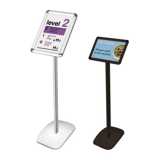 Freestanding poster frame suitable for both portrait and landscape posters