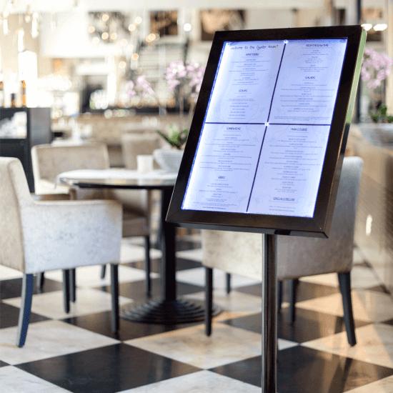 Illuminated menu stand - hold 4 x A4 sheets