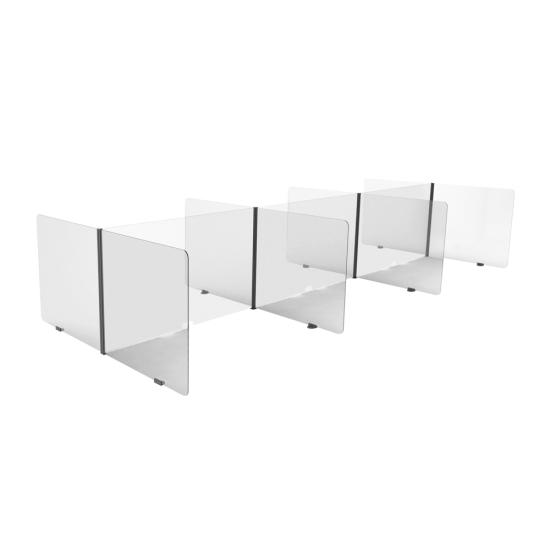 Modular acrylic sneeze guards for desks - 6 opposite-facing bays