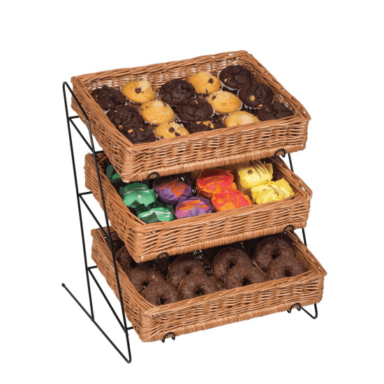 Angled Counter Top Tiered Wicker Basket Display ideal for coffee shop displays