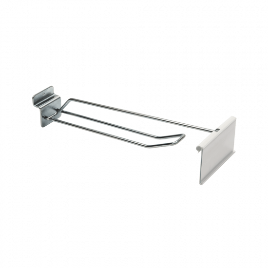 Double Prong Slatwall Hook with Ticket Holder