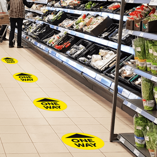 One way floor signs make ideal social distancing floor signs