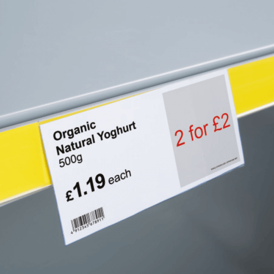 Top Fitting Shelf Talker for retail, also known as a shelf label holder