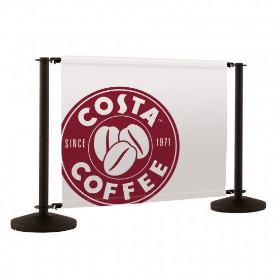 Black cafe barrier system with printed cafe banners