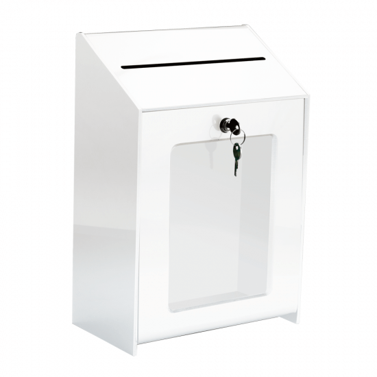 Lockable suggestion box with poster holder and two keys