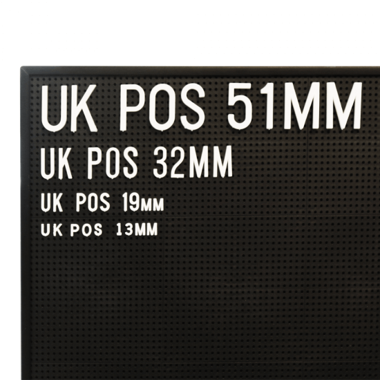 Peg Letter Board Letters and Numbers in 13mm, 19mm, 32mm and 51mm