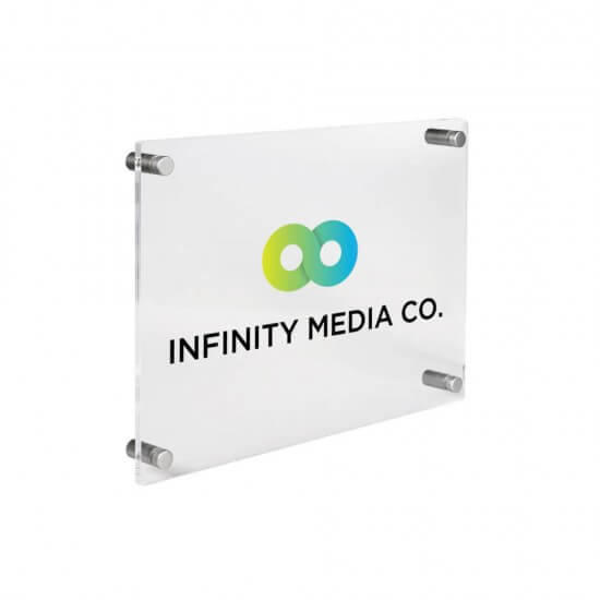 Acrylic Business Plaque with silver standoffs and optional branding