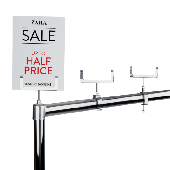 Clothes Rail Card Holder available in 3 attachment styles