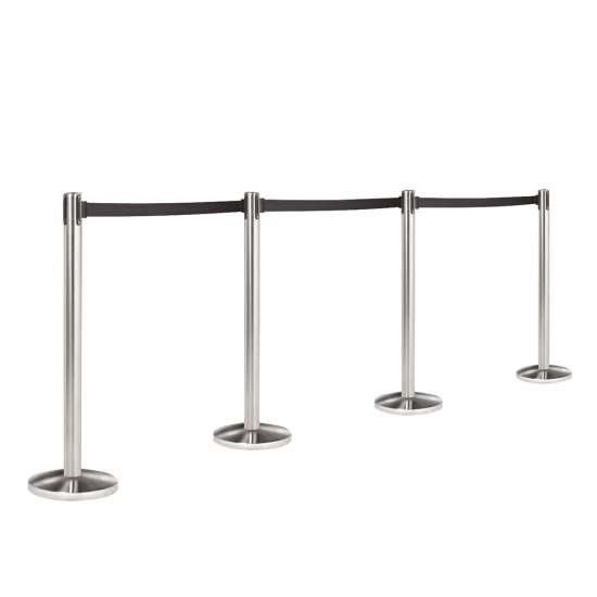 Retractable Queue Barriers with chrome posts and black belts