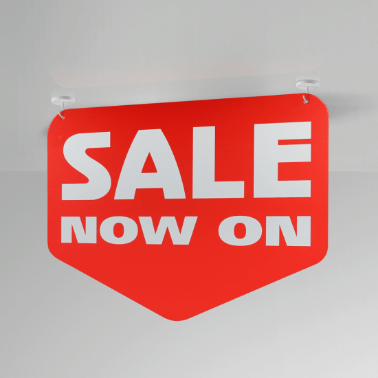 Sale Arrow Hanging Sign in use