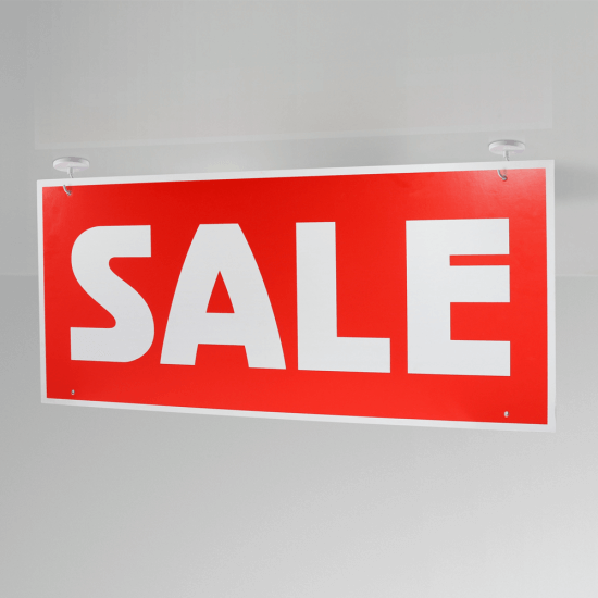 Ceiling Sale Sign Hanging in situ