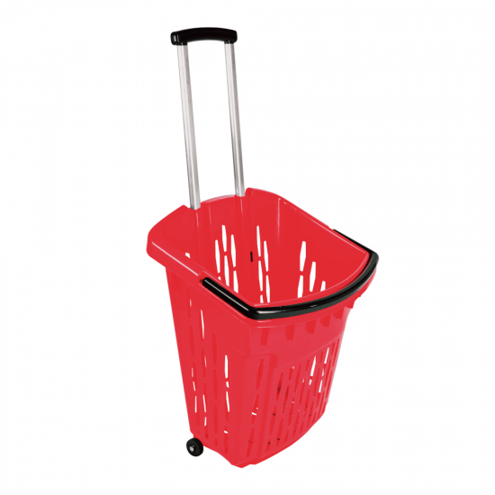 Telescopic Handle Wheeled Shopping Basket Red