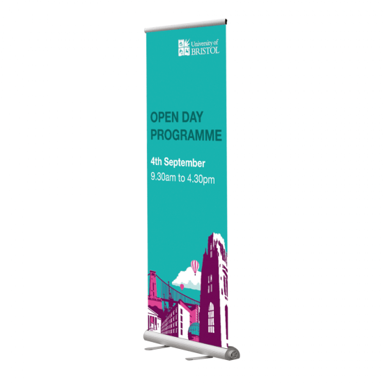 Premium Roller Banner Frame in use