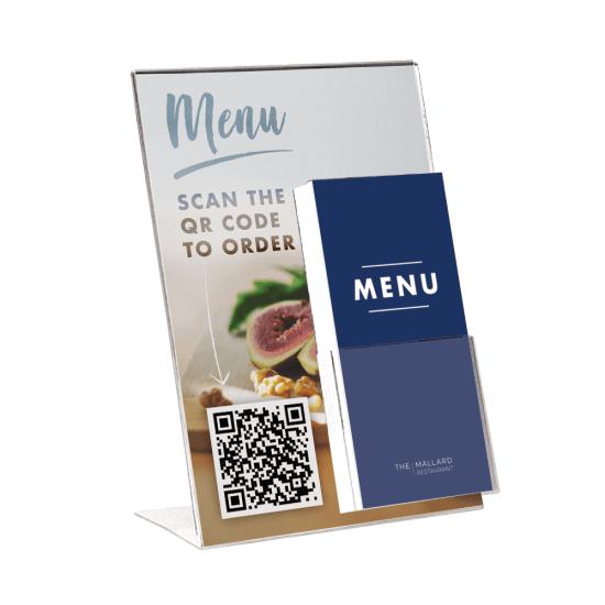 A4 Poster Holder with Leaflet Dispenser and QR code menu insert