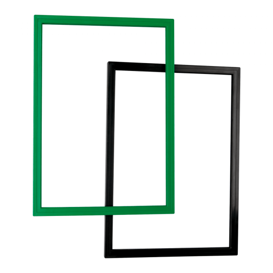 Showcard frame for poster display in black and green