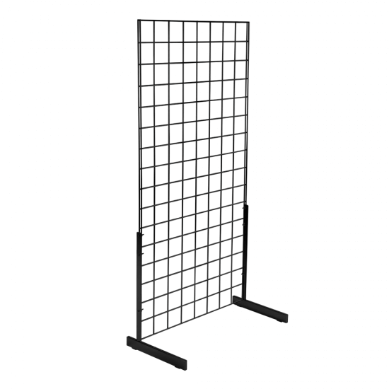 Freestanding Mesh Manel Display Kit with black grid mesh panel and L Legs