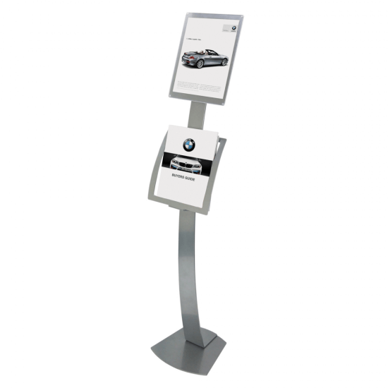 Silver Floor Standing Sign Holder with optional Leaflet Holder