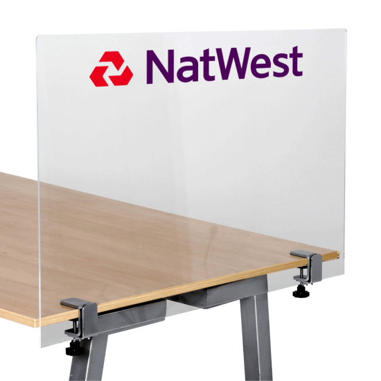 Branded Sneeze Guard Screen with Table Clamps