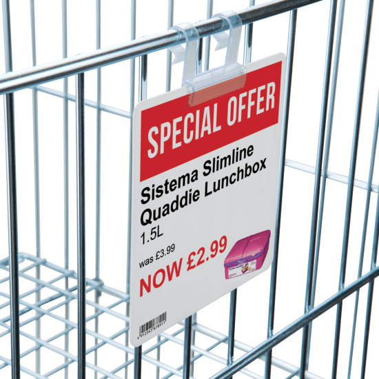 Wire Basket Sign Holders are ideal for use on wire dump bins