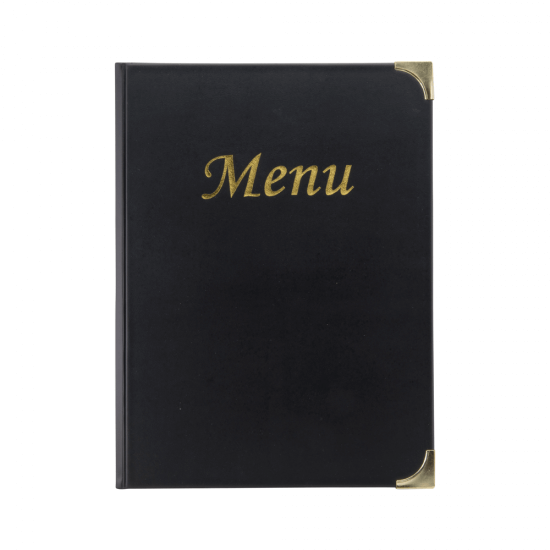 This traditional menu cover features metallic gold text and reinforced corners