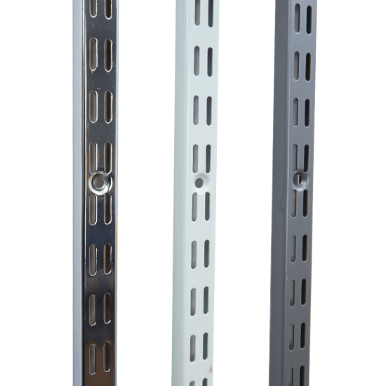 Twin slot uprights with a 32mm pitch, available in three colours