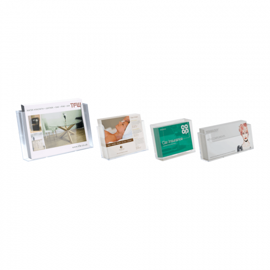 Wall mounted leaflet holders for 1/3 A4, A4, A5 and A6 literature