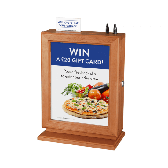Wooden Suggestion Box with poster holder, natural wood finish