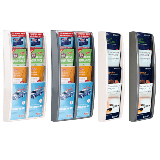Wall mounted tiered leaflet holder available in various sizes