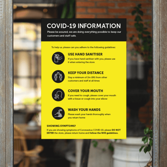 Information poster window clings