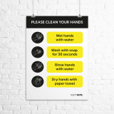 "A4 ""Please Clean Your Hands"" instructional poster"